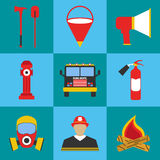 Firefighter icon set. Elements of the fire departament equipment. Icons. Vector Illustration Stock Image