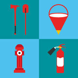 Firefighter icon set. Fire departament equipment icons. Vector I Royalty Free Stock Images
