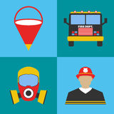 Firefighter icon set. Fire departament equipment icons. Vector I Stock Photo