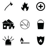 Firefighter icon set. The firefighter of icon set Royalty Free Stock Images