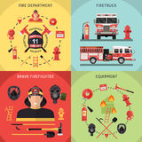 Firefighter Icon Set. Four square firefighter icon set with description of fire department firetruck brave firefighter and equipment vector illustration Stock Photos