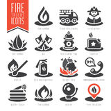 Firefighter icon set Royalty Free Stock Photography