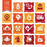 Firefighter icon set Stock Photography