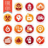 Firefighter icon set Royalty Free Stock Photos