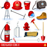Firefighter icons. Illustration of firefighter icons, part two Stock Photos