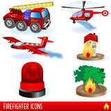 Firefighter icons. Color illustration of variety firefighter icons Stock Photography