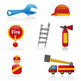 Firefighter icons. Collection of shiny antifire icons Royalty Free Stock Photography