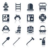 Firefighter Icons Black. Firefighter black icons set with flame extinguisher emergency siren isolated vector illustration Stock Photo
