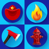 Firefighter icons elements set. Firefighter elements set collection, including axe, fire flame protective helmet and hydrant vector illustration Royalty Free Stock Images