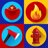 Firefighter icons elements set. Firefighter elements set collection, including axe, fire flame protective helmet and hydrant vector illustration Stock Photos