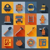 Firefighter icons flat. Firefighter flat icons set with badge ladder hat alarm equipment isolated vector illustration Stock Photo