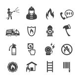 Firefighter icons. Mono vector symbols Stock Photo