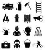 Firefighter icons set. In black Stock Photography