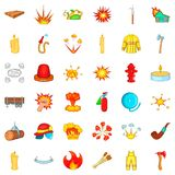 Firefighter icons set, cartoon style. Firefighter icons set. Cartoon style of 36 firefighter vector icons for web isolated on white background Stock Image