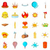 Firefighter icons set, cartoon style. Firefighter icons set. Cartoon set of 25 firefighter vector icons for web isolated on white background Royalty Free Stock Photo