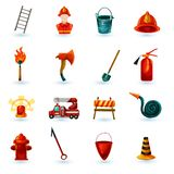 Firefighter Icons Set. Firefighter decorative icons set with axe helmet mask ladder isolated vector illustration Stock Photos