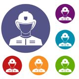 Firefighter icons set. In flat circle reb, blue and green color for web Stock Photos