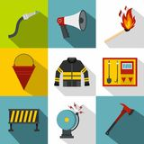 Firefighter icons set, flat style Stock Photo