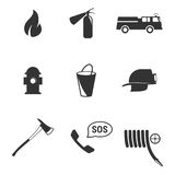Firefighter icons. Set of isolated icons on a theme firefighter Royalty Free Stock Image