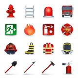 Firefighter icons set. Firefighter realistic icons set with axe helmet emblem mask isolated vector illustration Stock Photography