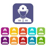 Firefighter icons set. Vector illustration in flat style in colors red, blue, green, and other Stock Photos