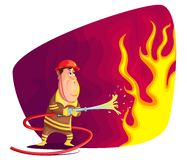 Firefighter. Illustration of firefighter extinguishing fire in vector Stock Image