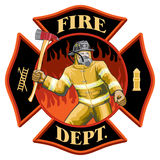 Firefighter Inside Maltese Cross Symbol. Illustration of a firefighter with axe inside a Maltese cross symbol Royalty Free Stock Photography
