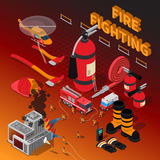 Firefighter Isometric Composition. With fireman rescue operation extinguisher boots truck hose axe helmet helicopter gloves vector illustration Stock Image