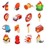 Firefighter isometric 3d icon. Isolated on white background Royalty Free Illustration
