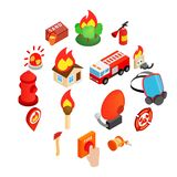 Firefighter isometric 3d icon. Isolated on white background vector illustration