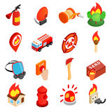 Firefighter isometric 3d icon Stock Image