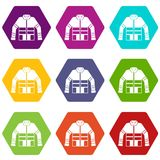 Firefighter jacket icon set color hexahedron. Firefighter jacket icon set many color hexahedron isolated on white vector illustration Stock Image