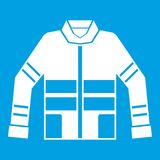 Firefighter jacket icon white. Isolated on blue background vector illustration Royalty Free Stock Images
