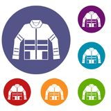 Firefighter jacket icons set. In flat circle reb, blue and green color for web Royalty Free Stock Image