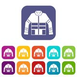 Firefighter jacket icons set Royalty Free Stock Photography