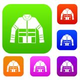 Firefighter jacket set collection. Firefighter jacket set icon in different colors isolated vector illustration. Premium collection Royalty Free Stock Image