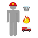 Firefighter job. Firefighter icon design, vector illustration eps10 graphic Royalty Free Stock Photo