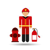 Firefighter job icon. Firefighter job wirh Fire hydrant icon,  illustration Stock Image