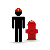 Firefighter job icon. Firefighter job wirh Fire hydrant icon,  illustration Stock Photography