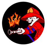 Firefighter and Fire Black Cartoon. Job series: firefighter on cartoon style Stock Photo