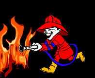 Firefighter and Fire Black Cartoon Stock Photography
