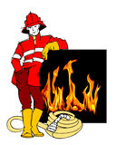 Firefighter and Fire Cartoon Royalty Free Stock Photography