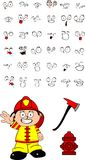 Firefighter kid cartoon set2 Stock Images