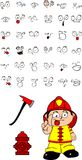 Firefighter kid cartoon set3. Firefighter kid cartoon set in vector format very easy to edit Royalty Free Stock Photos