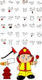 Firefighter kid cartoon set4 Royalty Free Stock Images