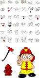 Firefighter kid cartoon set8. Firefighter kid cartoon set in vector format very easy to edit Royalty Free Stock Photos