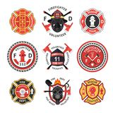 Firefighter Label Set. Firefighter label emblem or sticker set isolated and different sizes with bright colors on firefighting subject vector illustration Stock Photo