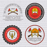 Firefighter label template of emblem element for your product or design, web and mobile applications with text. Vector. Firefighter label template of emblem Royalty Free Stock Image