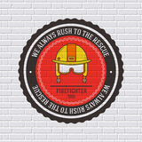 Firefighter label template of emblem element for your product or design, web and mobile applications with text. Vector. Illustration with thin lines  icons on Royalty Free Stock Image