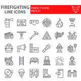 Firefighter line icon set, fireman symbols collection, vector sketches, logo illustrations, fire safety signs linear. Pictograms package isolated on white vector illustration
